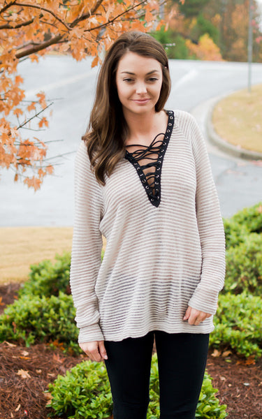 Light Taupe Open Rib Sweater - Endless Knot Boutique