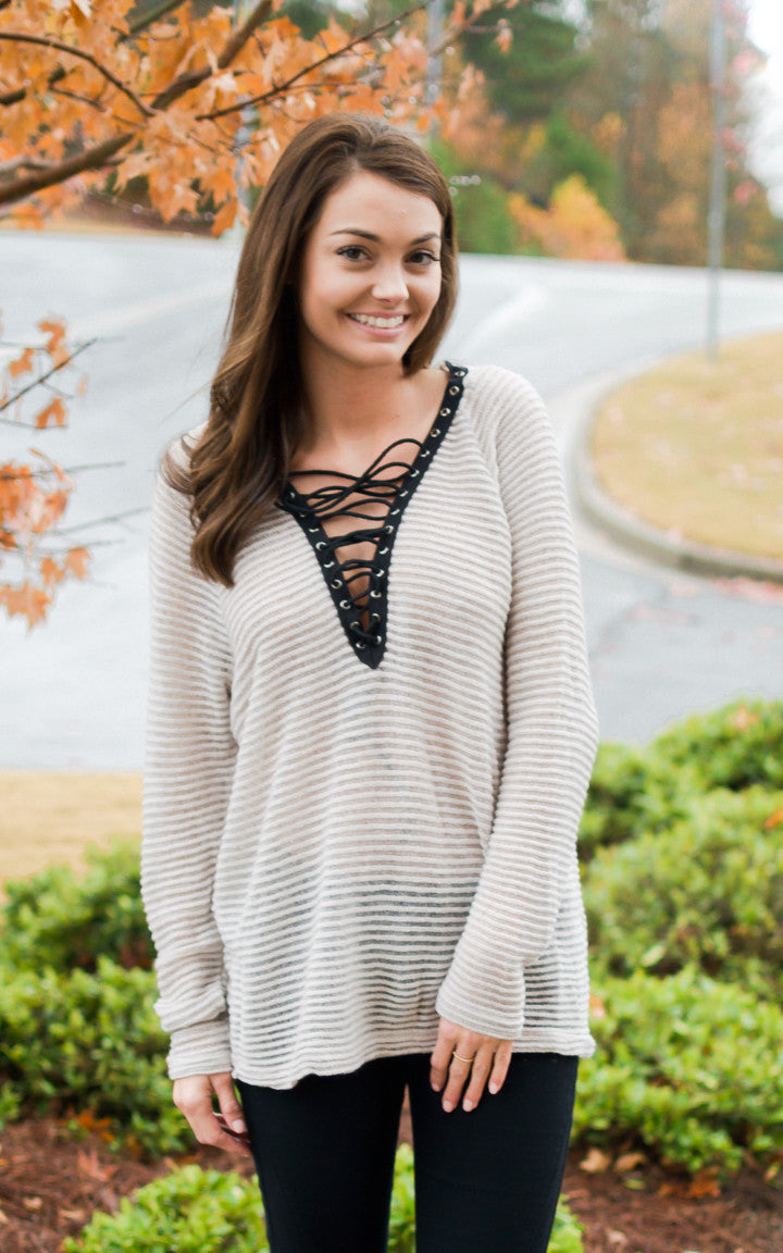 Light Taupe Open Rib Sweater - Dawn and Rae Boutique