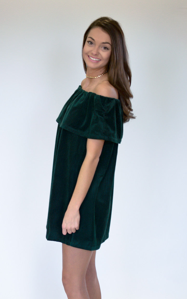 Magic Green Off The Shoulder Dress - Dawn and Rae Boutique