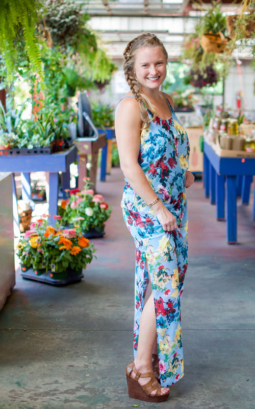 Poppy Fields Blue Floral Maxi - Dawn and Rae Boutique