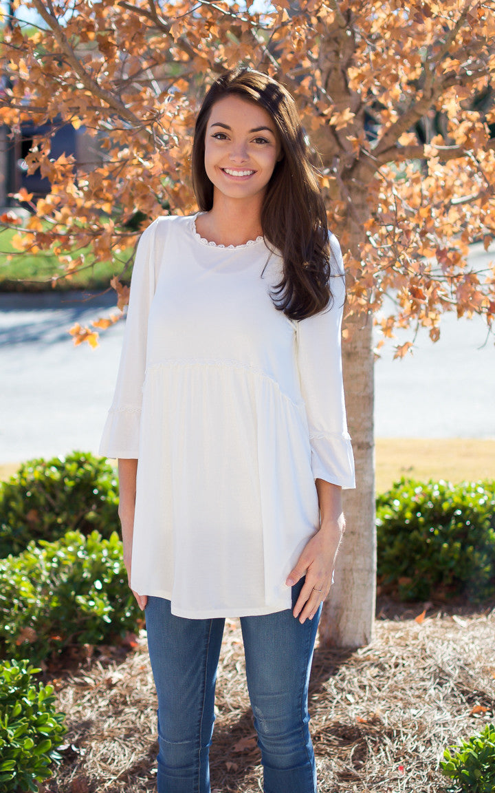 Braylon Ivory Babydoll Top - Dawn and Rae Boutique