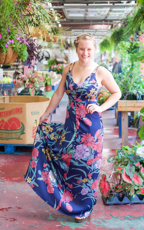 button up floral maxi dress