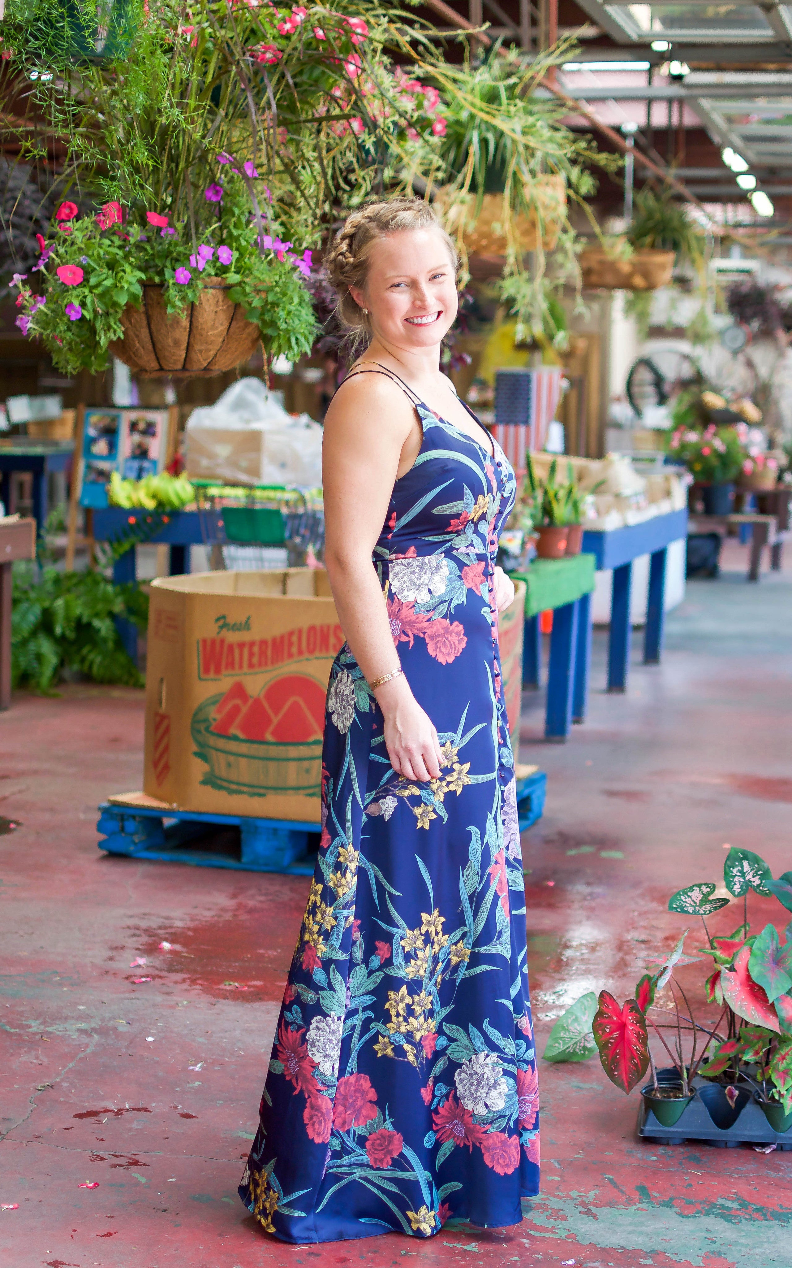 navy printed floral maxi dress