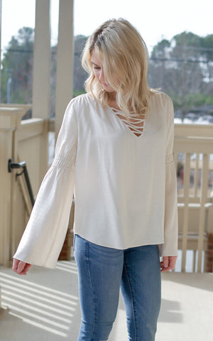 Cream Belled Sleeve Top - Endless Knot Boutique