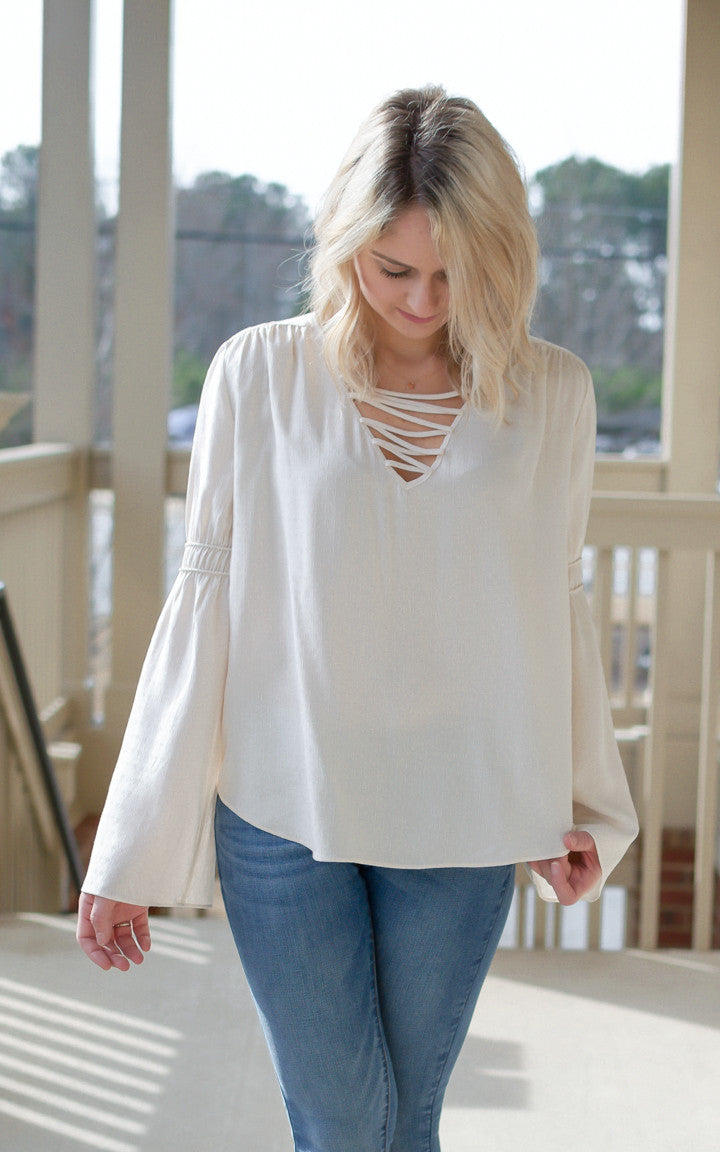 Cream Belled Sleeve Top - Dawn and Rae Boutique