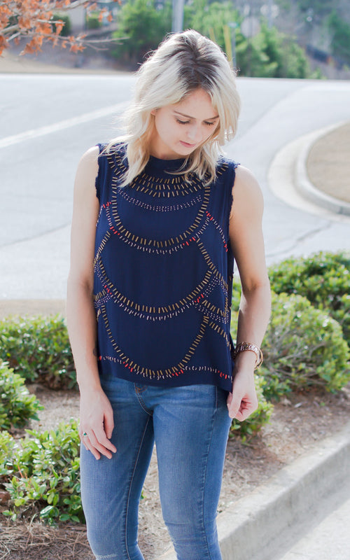 Navy Beaded Open Back Top - Dawn and Rae Boutique