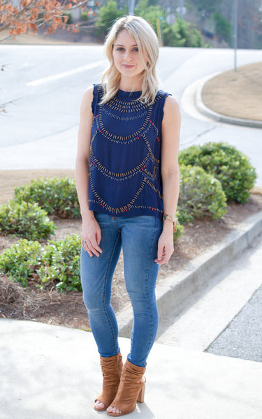 Navy Beaded Open Back Top - Endless Knot Boutique