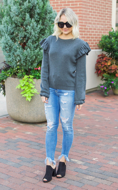 Heather Grey Ruffle Shoulder Sweater - Dawn and Rae Boutique
