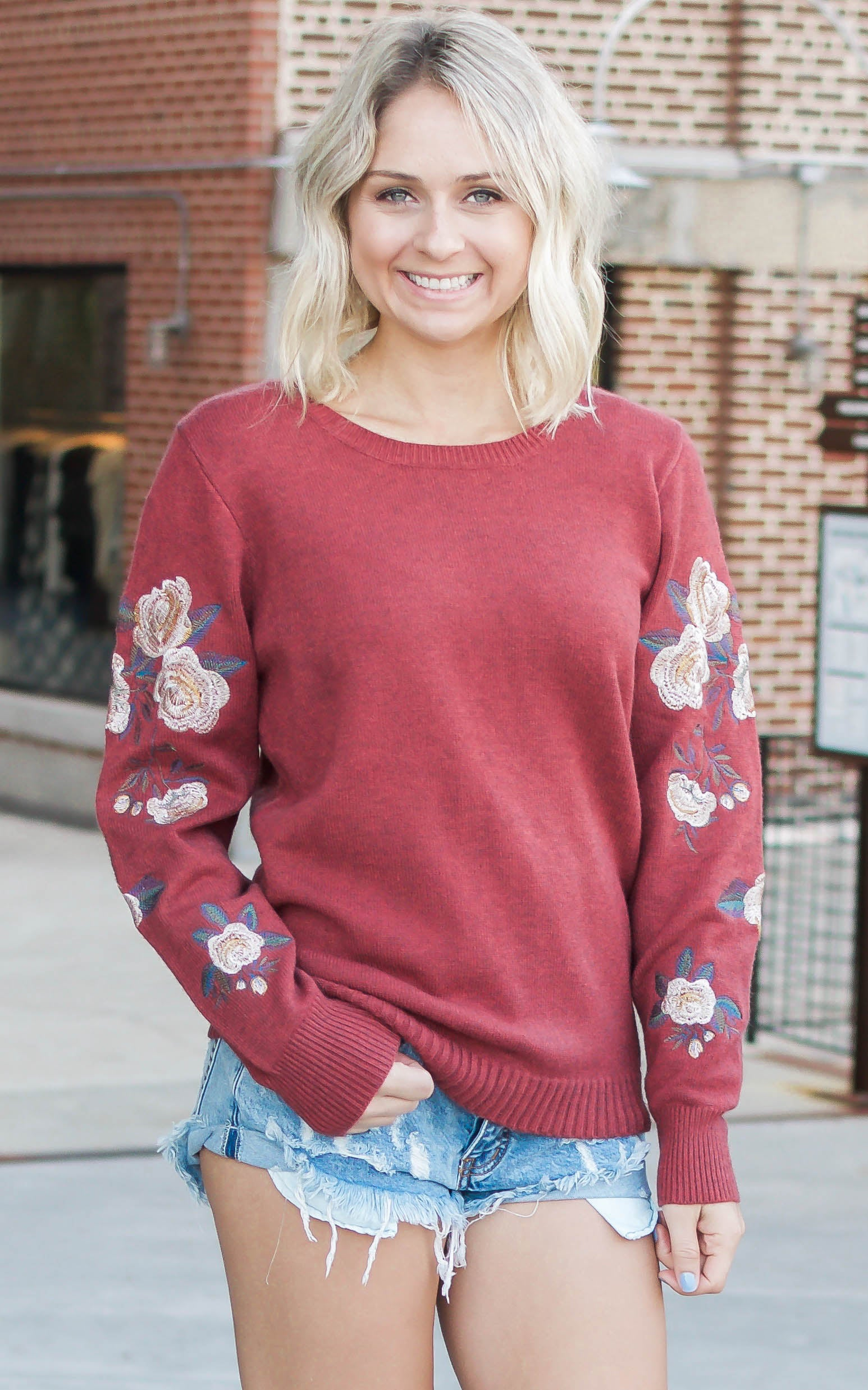 Ruby Rose Embroidered Sweater - Dawn and Rae Boutique
