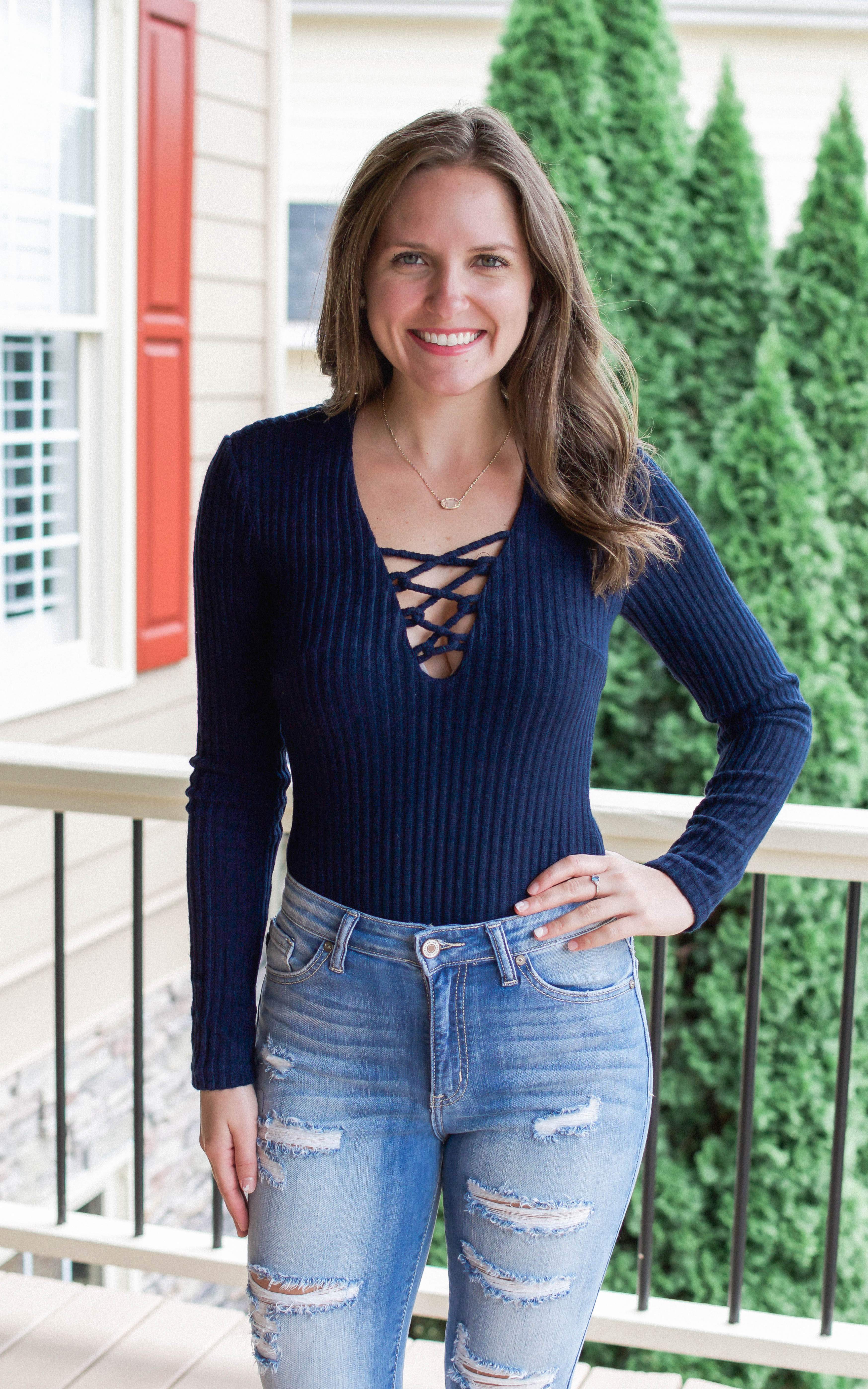 Navy Rib Lace Up Sweater Bodysuit - Dawn and Rae Boutique