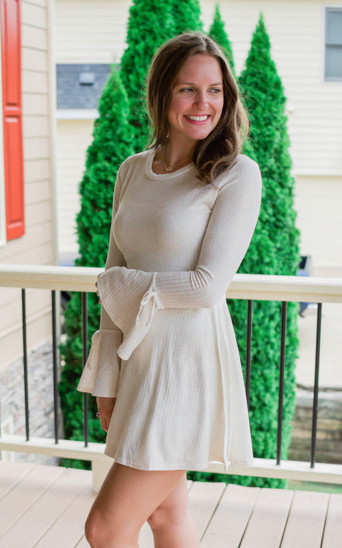 Ivory Bell Sleeve Knit Dress - Dawn and Rae Boutique