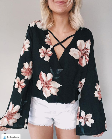 Black Floral Top - Dawn and Rae Boutique