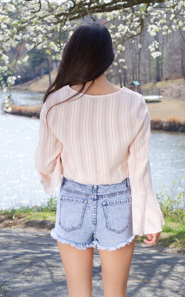Pale Pink Bell Sleeve Top - Endless Knot Boutique