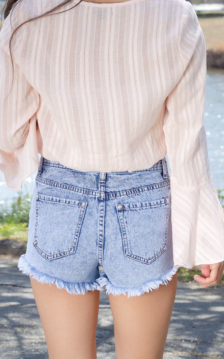 Geometric Embroidered Denim Shorts - Dawn and Rae Boutique