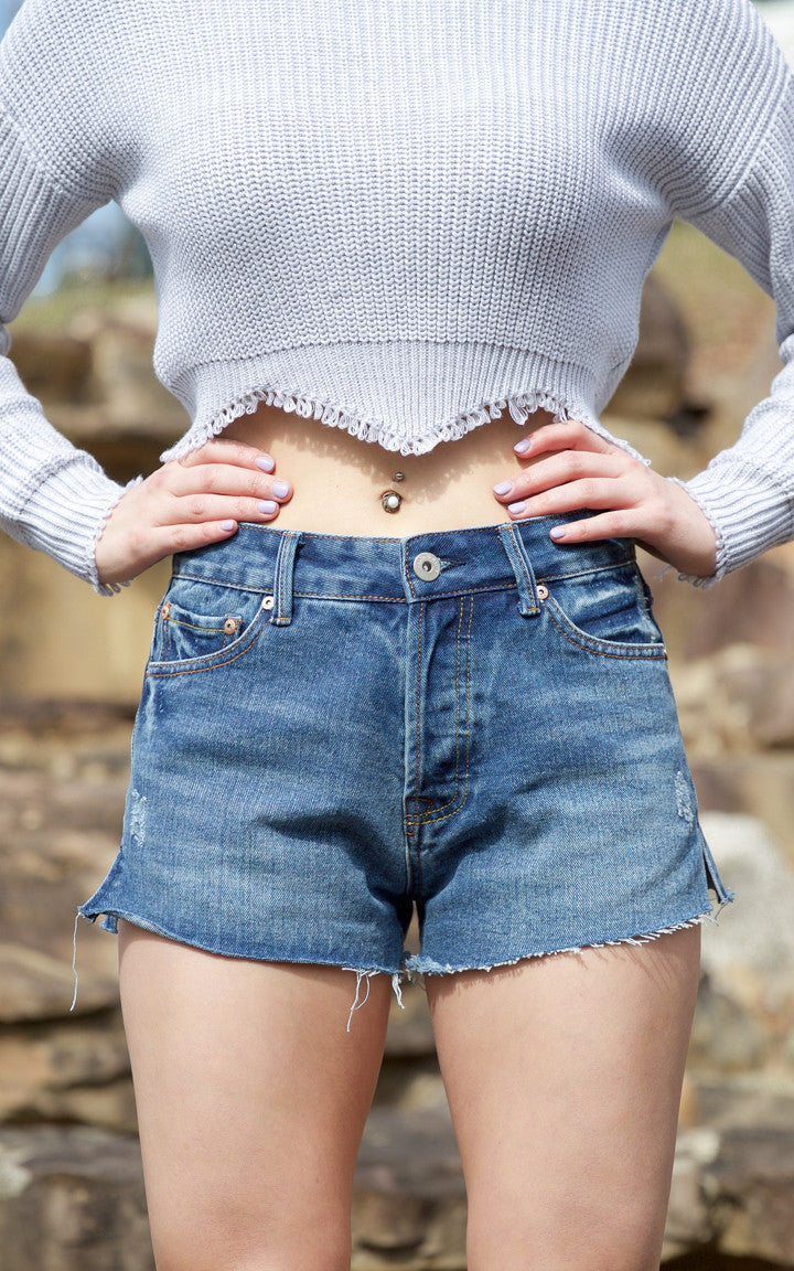 Dark Blue High Waisted Denim Shorts - Dawn and Rae Boutique