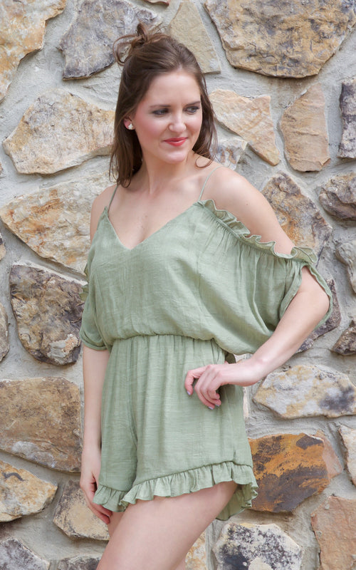 Make Them Blush Green Romper - Dawn and Rae Boutique
