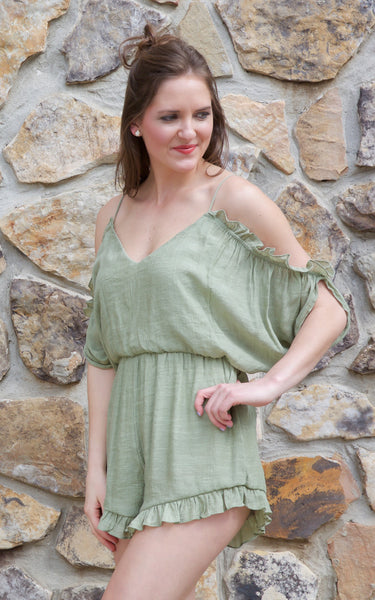 green open shoulder romper