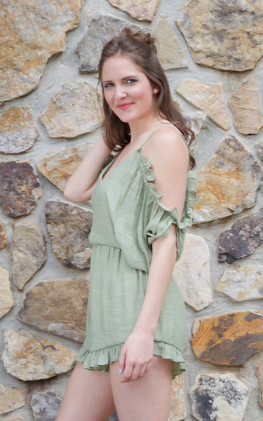 Make Them Blush Green Romper - Endless Knot Boutique
