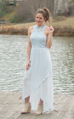 All White Crochet Lace Maxi Dress