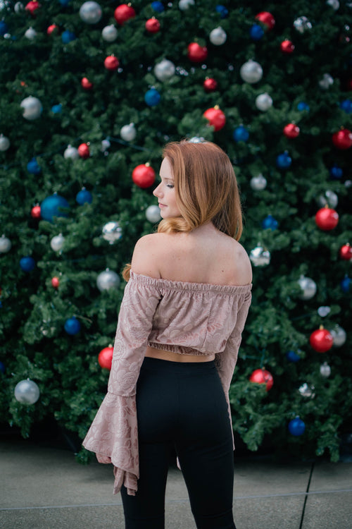Rose Bell Sleeve Crop Top - Dawn and Rae Boutique
