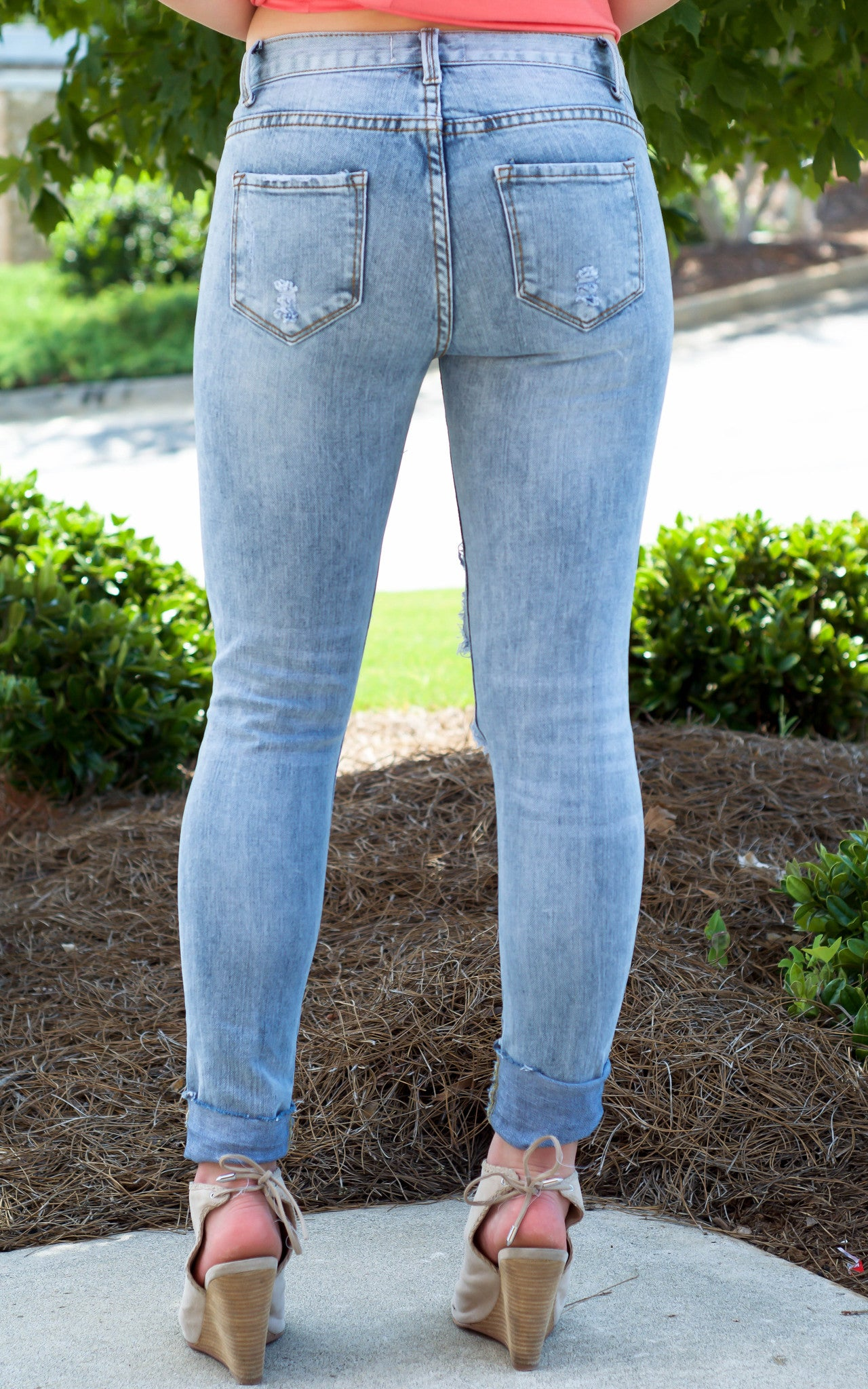 Denim Ripped Skinny Jeans - Dawn and Rae Boutique