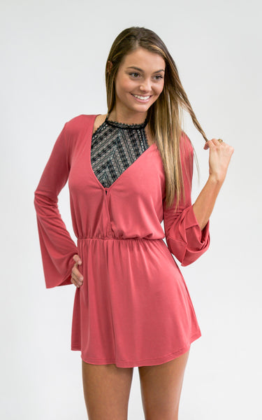 Mineral Red Knit Romper - Endless Knot Boutique
