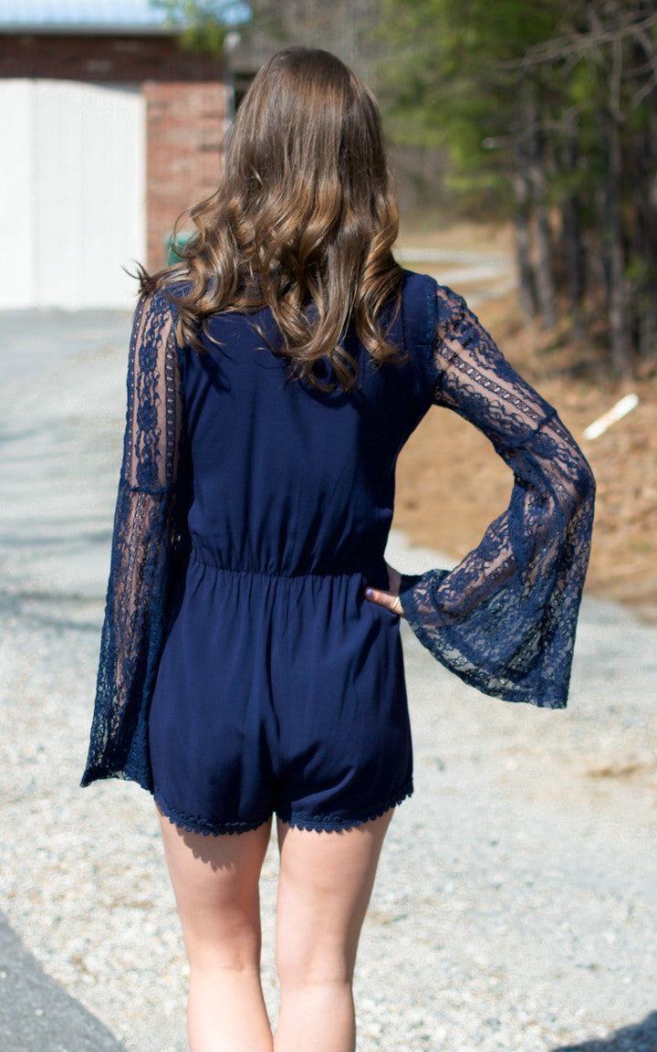Bailey Blue Lace Sleeve Romper - Dawn and Rae Boutique