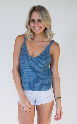 Basic Knit Blue Crop Top - Endless Knot Boutique