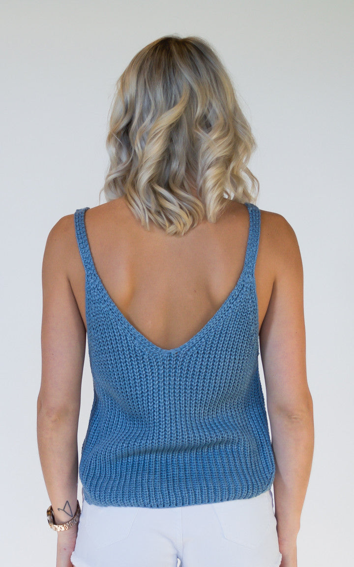 Basic Knit Blue Crop Top - Dawn and Rae Boutique