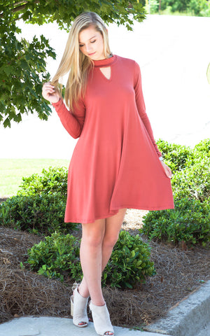 Red Boxy Front Pocket Mini Dress