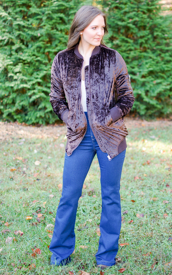 Crushed Velvet Bomber Jacket - Dawn and Rae Boutique