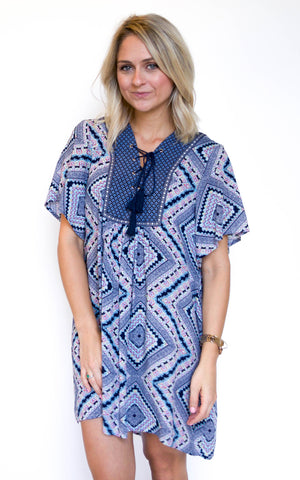 Lead The Way Blue Print Dress - Endless Knot Boutique