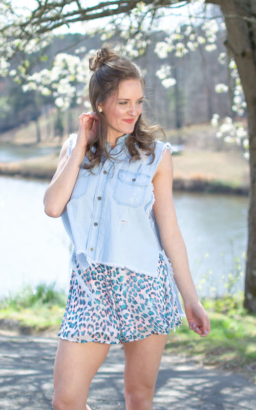 Chambray Button Up Vest - Dawn and Rae Boutique