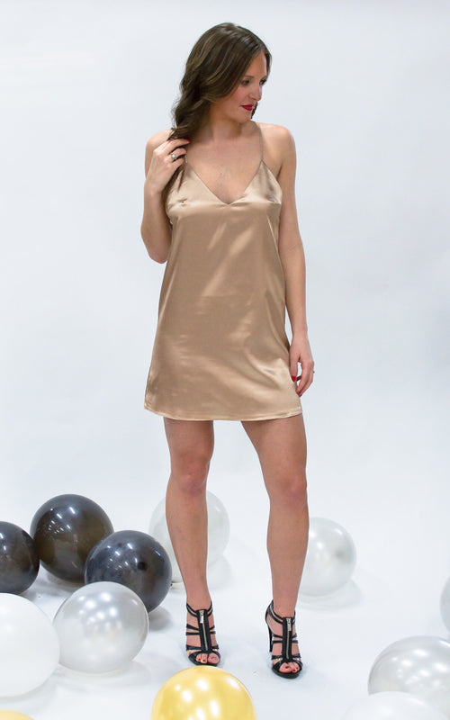 Champagne Mini Dress - Dawn and Rae Boutique