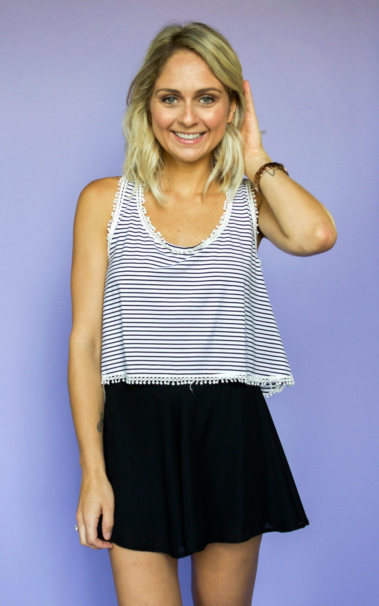 Between The Lines Crop Top - Dawn and Rae Boutique