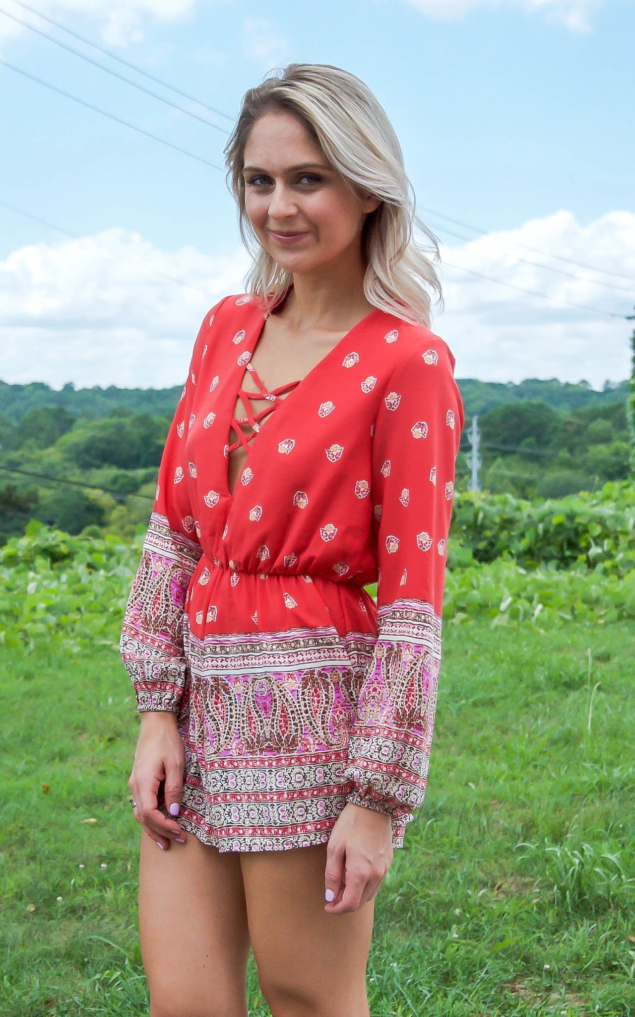 Crossover Printed Romper - Dawn and Rae Boutique