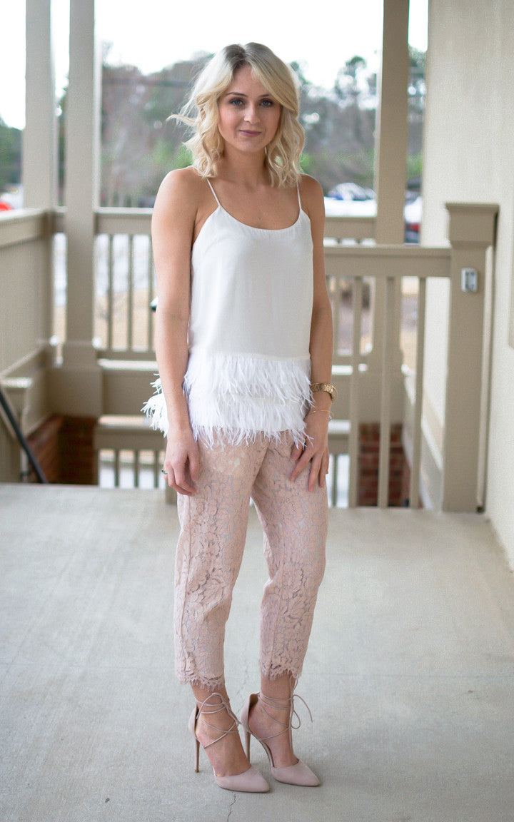 Pearly Feathered Tank - Dawn and Rae Boutique