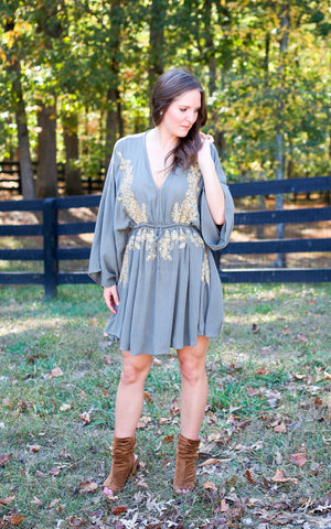 Gold Vine Embroidered Dress - Endless Knot Boutique
