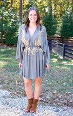 Gold Vine Embroidered Dress - Dawn and Rae Boutique