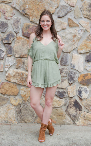 Make Them Blush Teal Romper