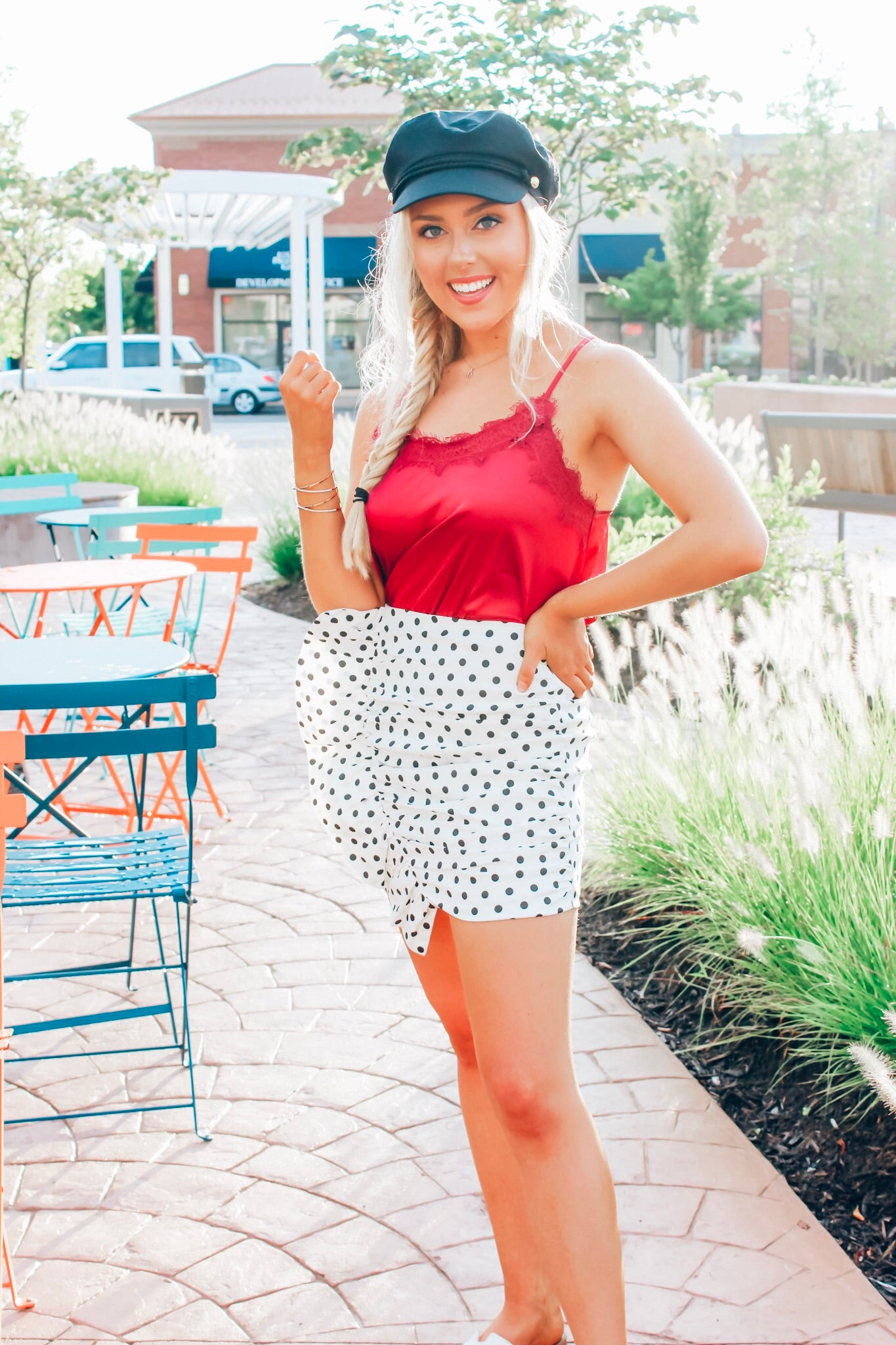 Polka Dot Ruffle Mini Skirt