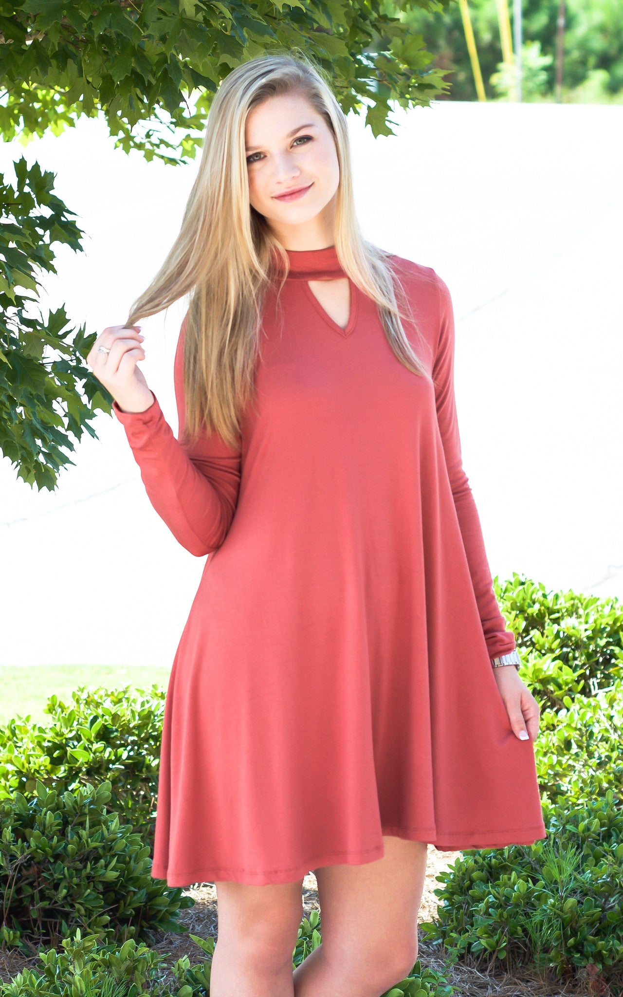 Brick Keyhole Swing Dress - Dawn and Rae Boutique