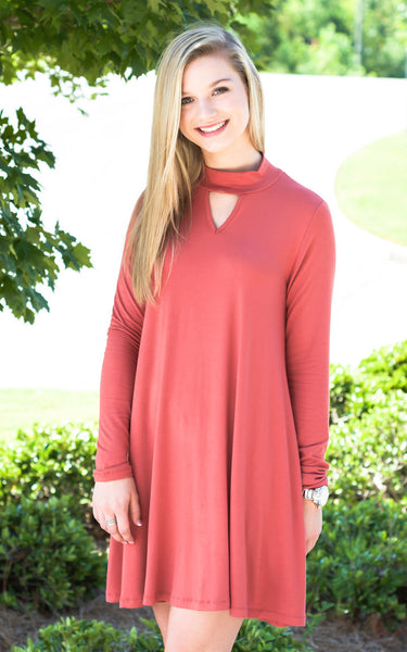 Brick Keyhole Swing Dress - Endless Knot Boutique