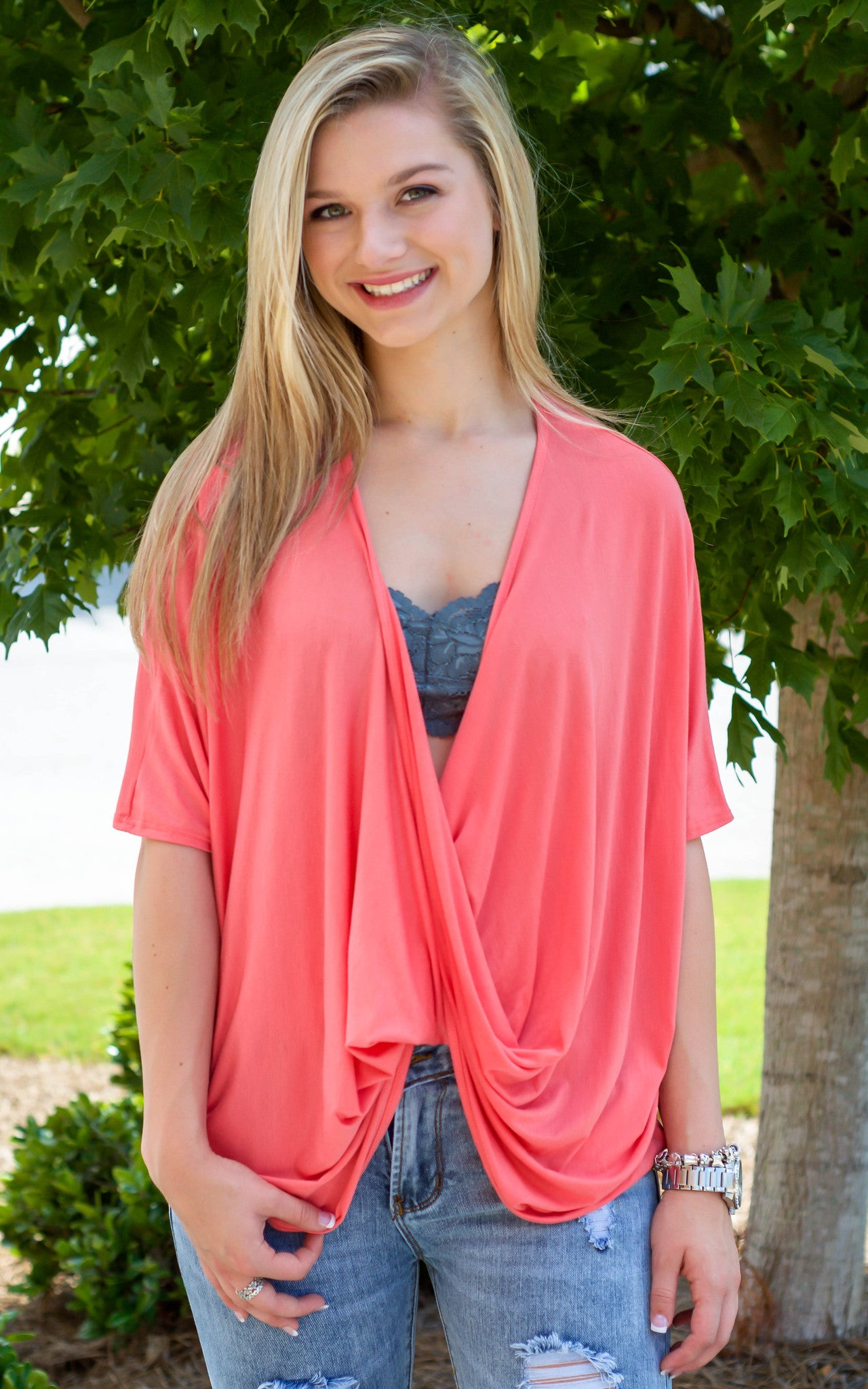 front twist coral top