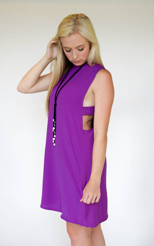 Mauve V-Neck Babydoll Dress