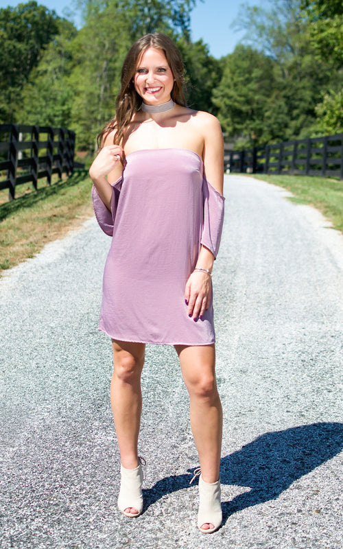 Mauve Satin Off The Shoulder Dress - Dawn and Rae Boutique