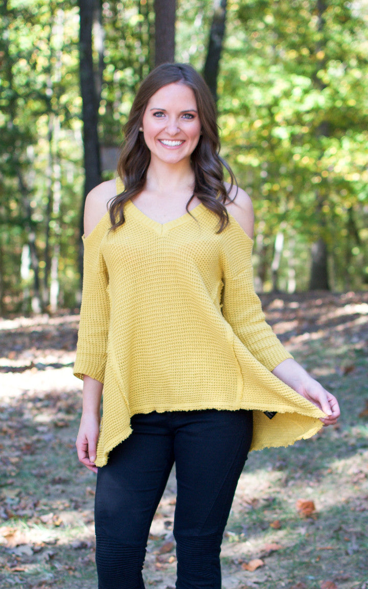 Mustard Cold Shoulder Sweater - Dawn and Rae Boutique