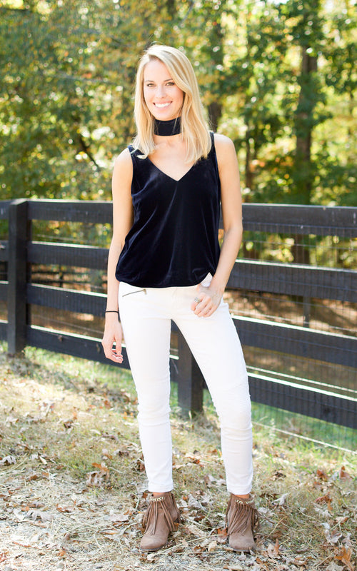 Navy Velvet Tie Neck Tank - Dawn and Rae Boutique