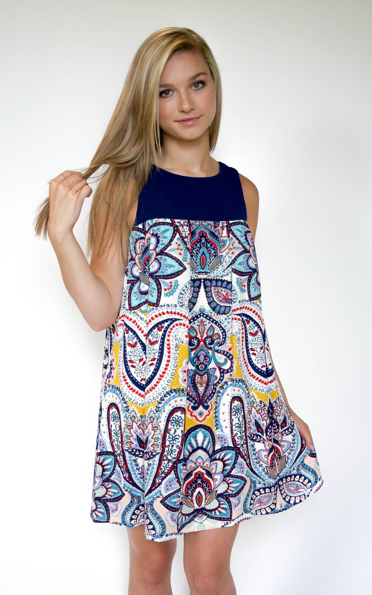 paisley tank top mini dres