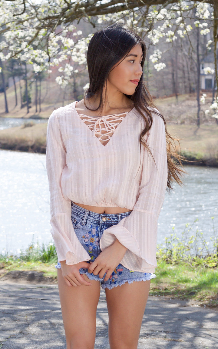 Pale Pink Bell Sleeve Top - Dawn and Rae Boutique